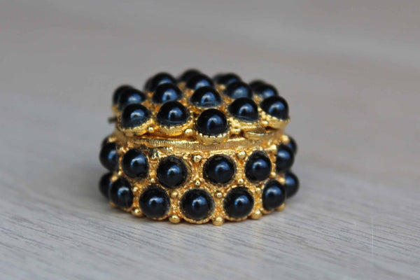 Black Beaded and Gold Tone Vitamin Box