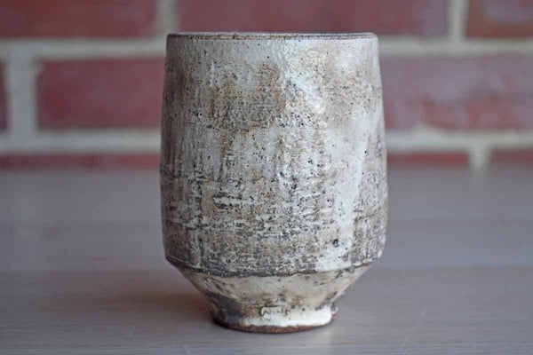 Small Stoneware Cup with Textured White Glaze