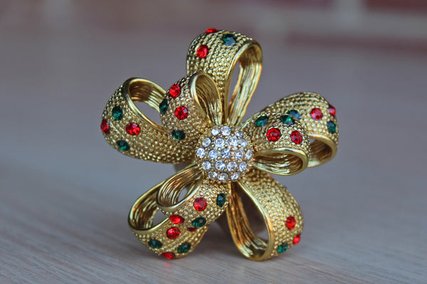 Gold Tied Pull Bow with Silver, Green and Red Rhinestones