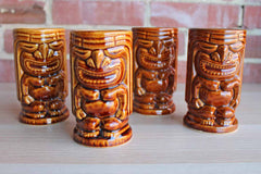 Orchids of Hawaii (USA) Tiki Leilani Mugs, Set of 4