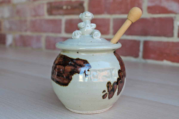 Ceramic Handmade Honey Pot with Bear Finial on Lid