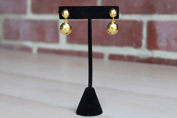 Hammered Gold Tone Pierced Dangle Earrings