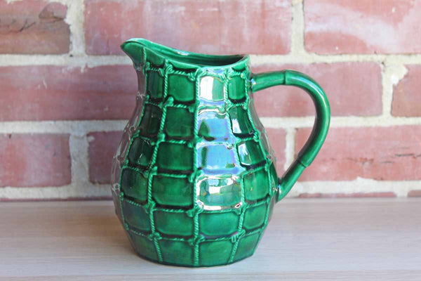 Saint Clement (France) Glossy Green Wine/Water Jug with Knotted Rope Design