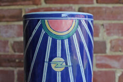Large Ceramic Vase with Vibrant Colors and Joyful Shapes