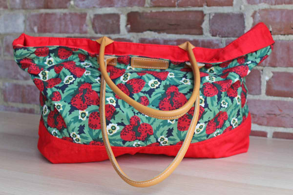 ESPIRIT Cotton and Faux Leather Strawberry Tote Bag
