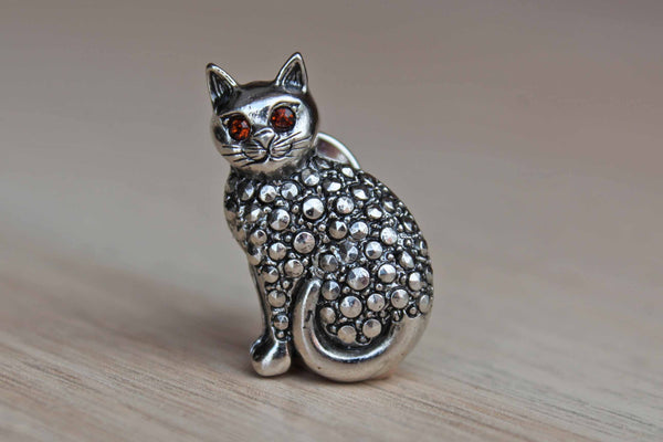 Small Metal Cat Lapel Pin with Red Rhinestone Eyes
