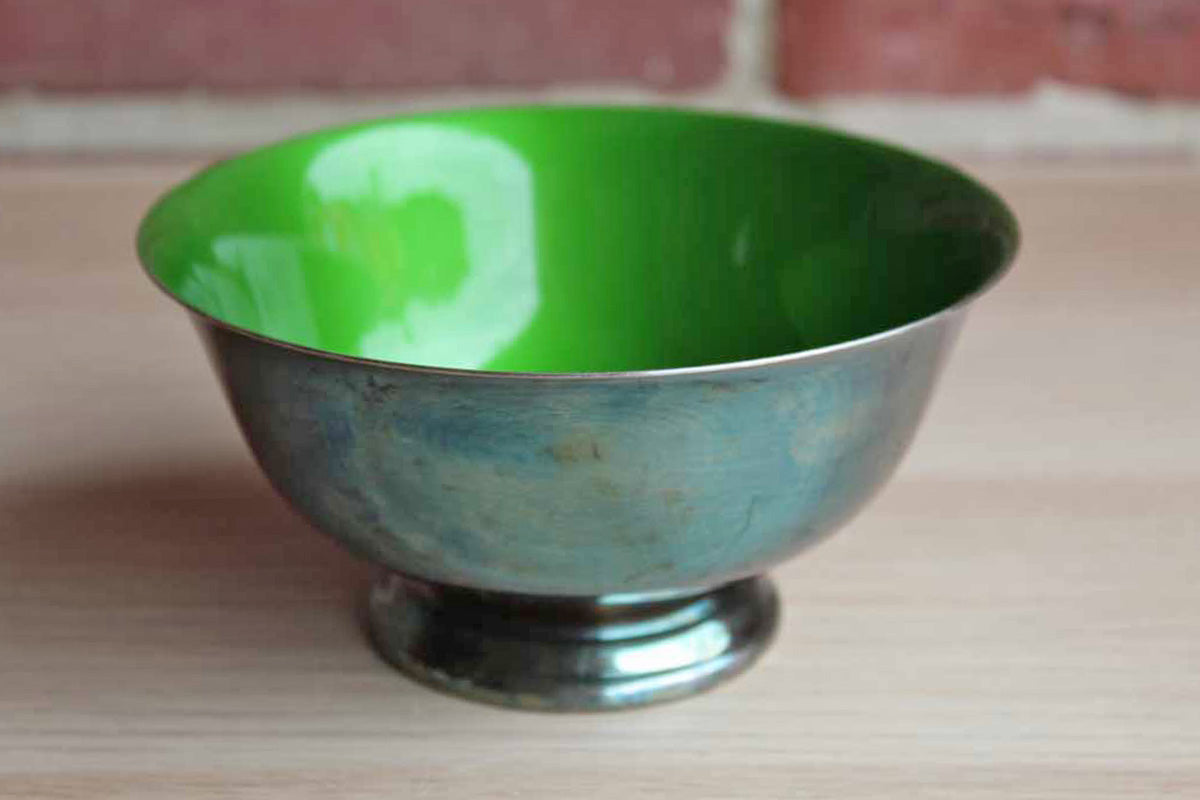 Reed & Barton Paul Revere Silverplate Pedestal Bowl with Green Enameled Interior