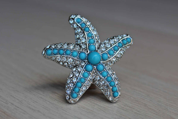 Rhinestone and Faux Turquoise Star Fish Brooch or Pendant