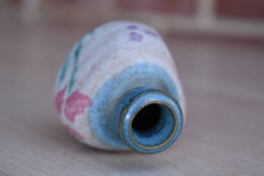 Small Stoneware Bud Vase with Pink Painted Flowers