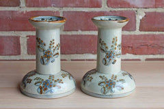 Ken Edwards Pottery (Mexico) Stoneware Candlesticks Decorated with Flowers, A Pair