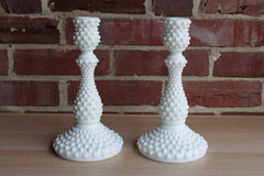 Fenton Art Glass (West Virginia, USA) White Hobnail Candlesticks, A Pair