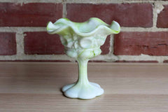 Kanawha Glass Company (West Virginia, USA) Marbelized Green Slag Glass Compote