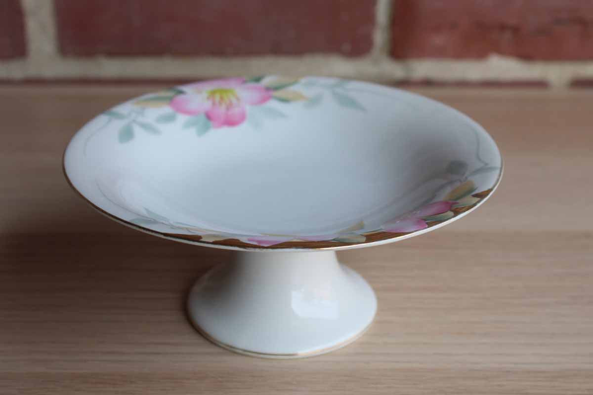 Noritake (Japan) Azalea Round Compote with Gold Trim