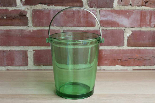 Green Glass Ice Bucket with Silver Tone Handle