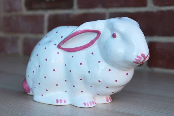 Tiffany & Co. (Austria) Pink and White Ceramic Rabbit Coin Bank