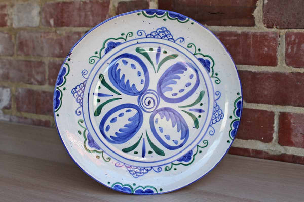 Carmona 1980 Hand-Decorated Ceramic Plate with Flowers
