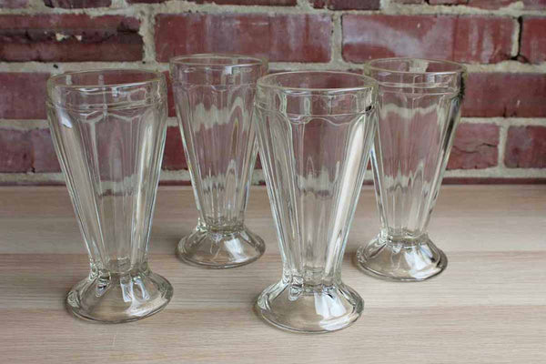 Clear and Heavy Ice Cream Float or Milkshake Diner Glasses, Set of 4