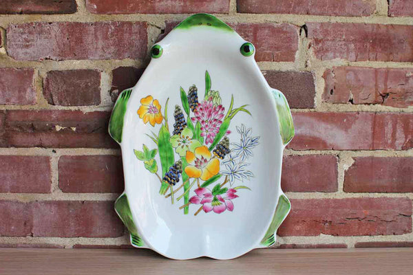 Frog Shaped Heavy Ceramic Dish with Hand-Painted Colorful Flowers