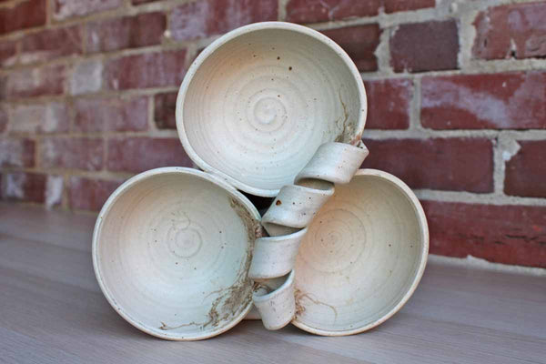 Handmade Stoneware Triple Divided Bowls Decorated with a Turned Handle and Leaves and Berries Design