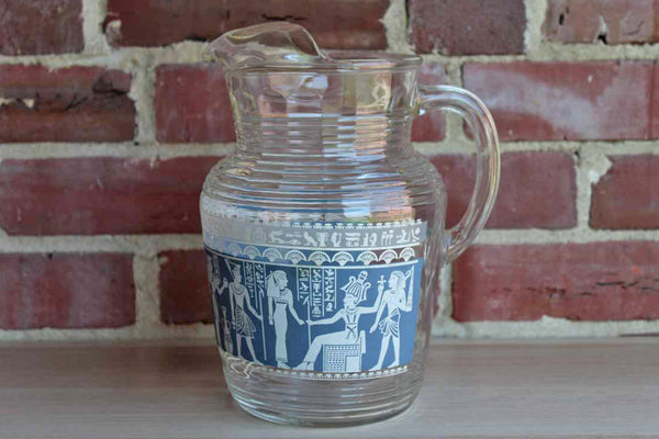 Hazel Atlas Glass Company (West Virginia, USA) Wedgwood Blue Pitcher with Egyptian Characters