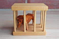 Wooden Lion in a Cage Decorative Toy