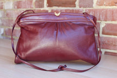 Etienne Aigner (New York, USA) Antic Red Leather Flex Frame Clutch or Shoulder Bag