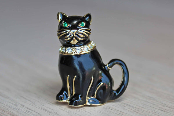 Monet (New York, USA) Black Cat Brooch with Green Eyes and Rhinestone Collar