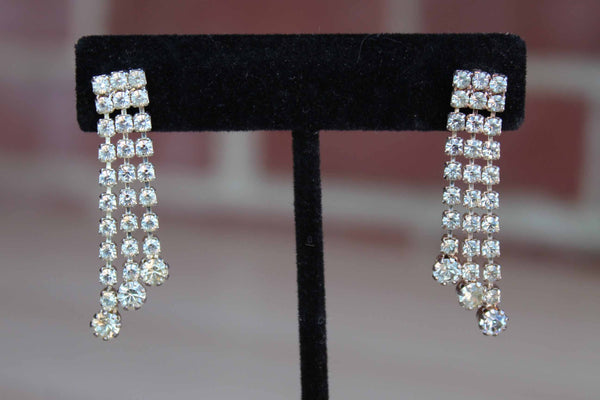 Dangling Silver Rhinestone Pierced Earrings