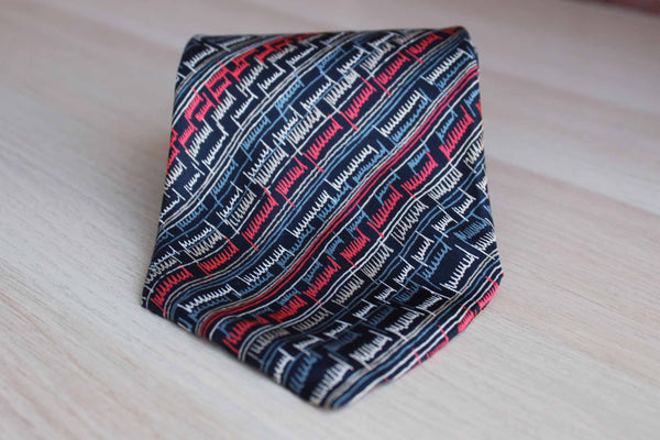 Pierre Cardin (Paris, New York) Silk Necktie Decorated with Abstract Squiggly Line Pattern