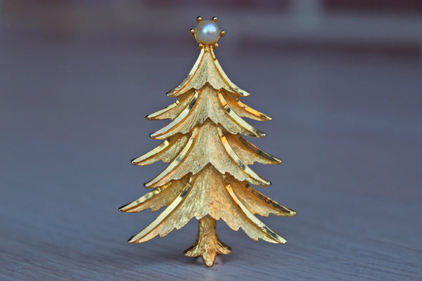 Mansell Gold Tone Christmas Tree with Pearl Accent