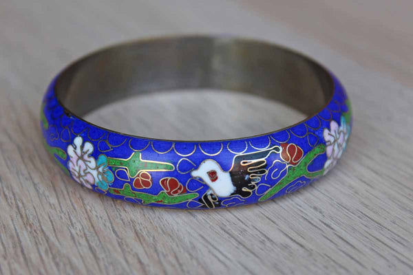 Blue Floral Enamel Cloisonne Bangle Bracelet
