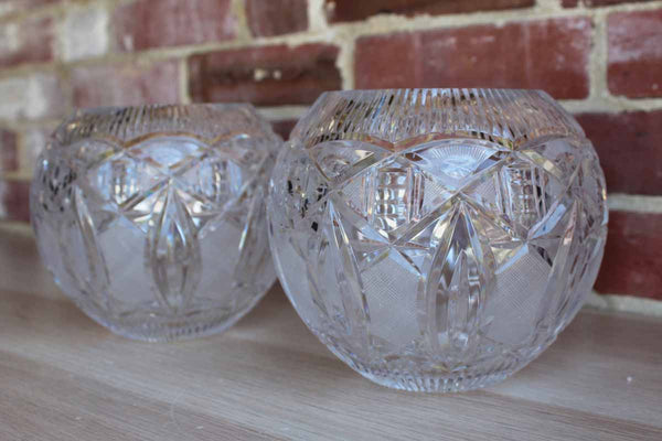 Heavy Pressed Glass Rose Bowls, A Pair
