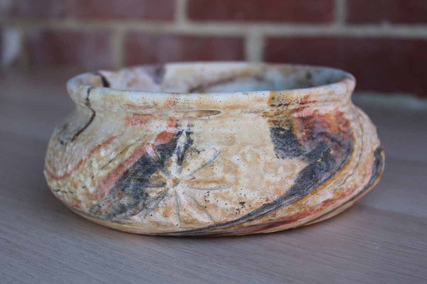 Comanche Pottery Designed by Ron Allen (Texas, USA) Multi-Colored Swirled Bowl
