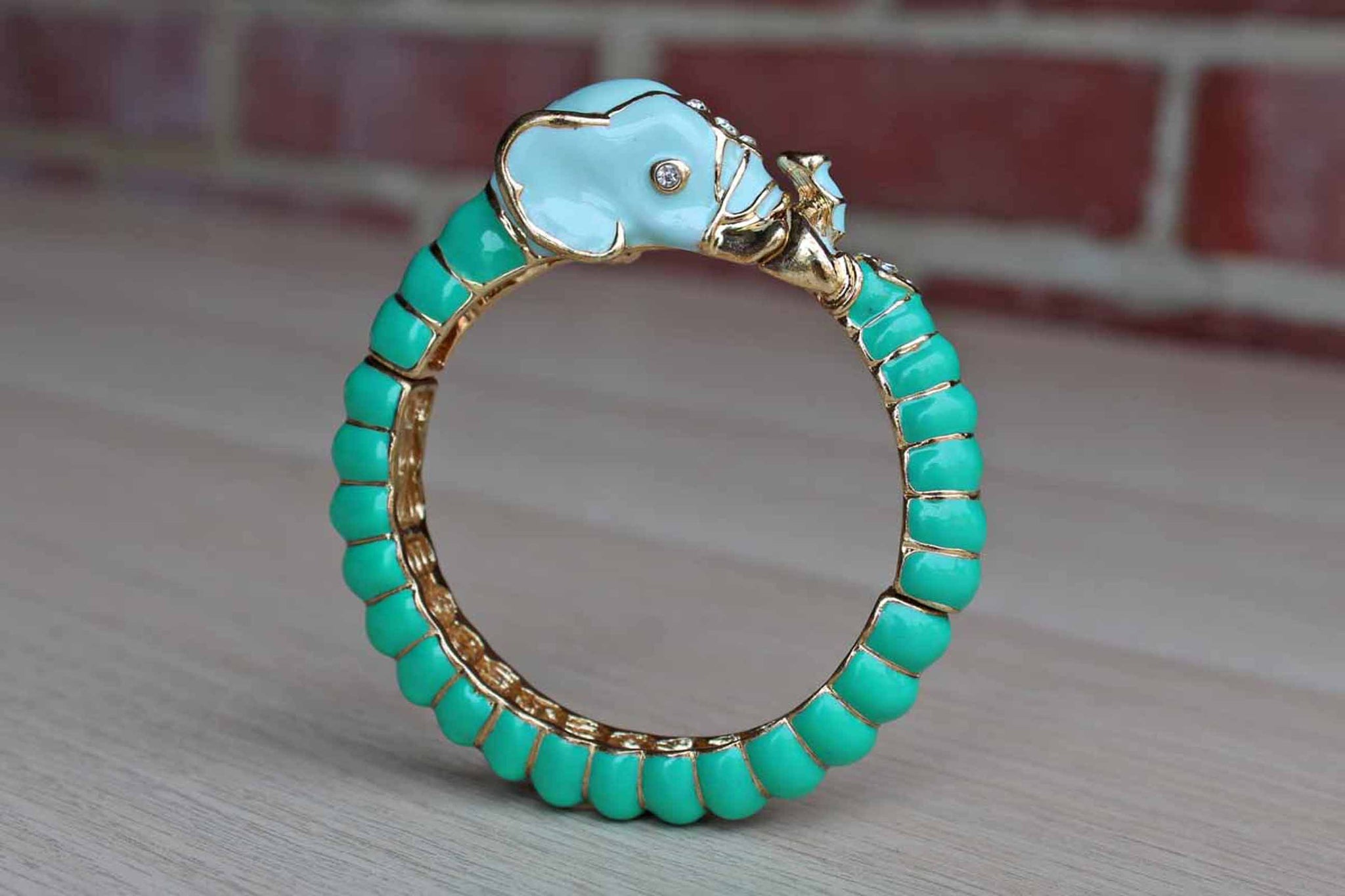 Blue and Aqua Enameled Elephant Bracelet with Silver Rhinestones