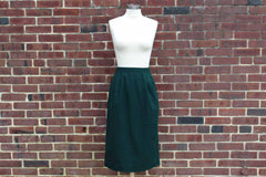 Talbots Green 100% Worsted Wool Pleated Pencil Skirt, Size 10
