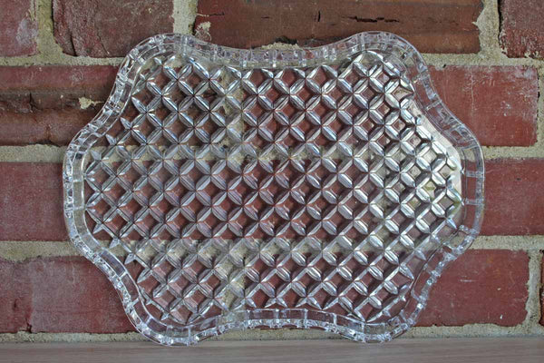 Glass Tray with Rounded and Raised Sides and Embossed Lattice Design