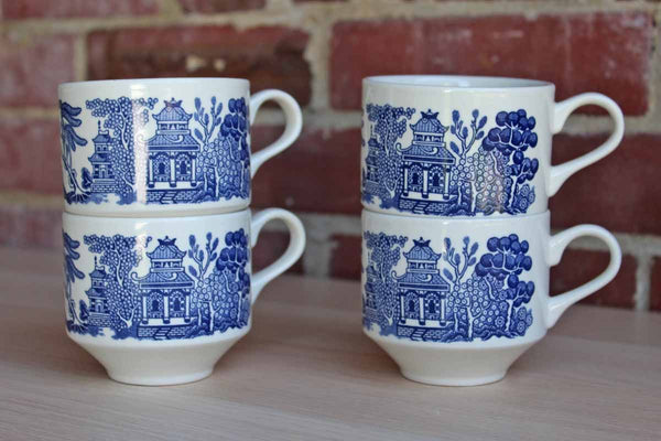 Churchill (England) Porcelain Blue Willow Handled Mugs, Set of 4