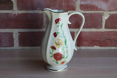 Royal Heritage China Porcelain Pitcher with Red and Yellow Flowers