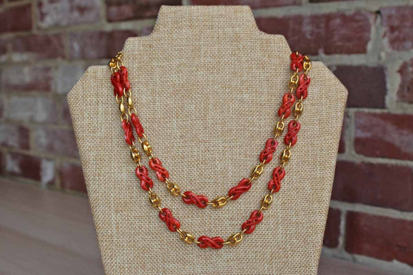 Long Orange Resin Necklace with Gold Tone Links