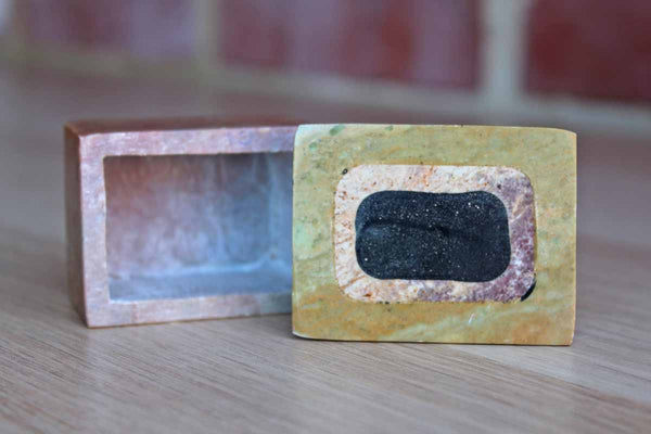 Little Soapstone Box with Rectangle Design Set into the Lid