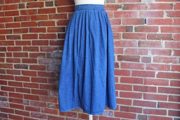 Long Full Pleated Denim Skirt Made by Sassoon