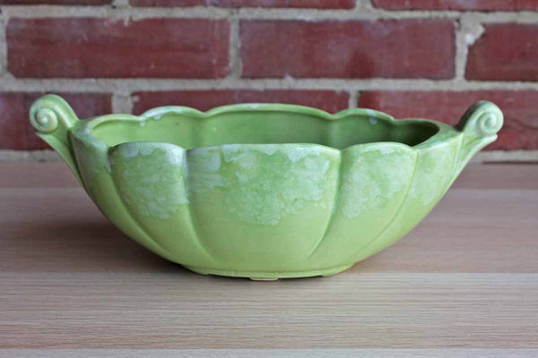 Bright Green Ceramic Planter with Decorative Top-Set Handles and Light Lava-Glazed Rim