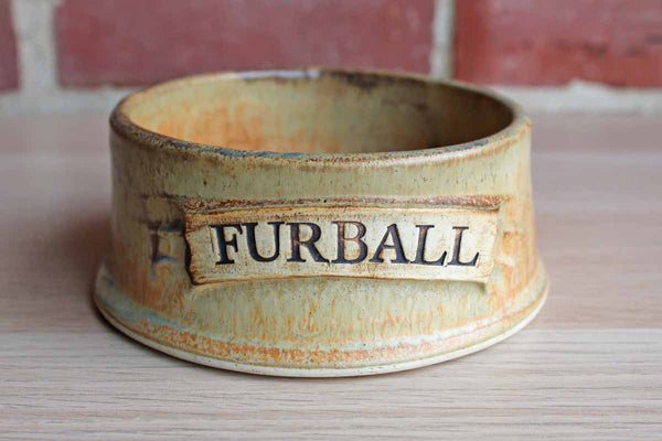 "Heavy Handmade Stoneware Cat Food Dish with ""Furball"" Scroll"