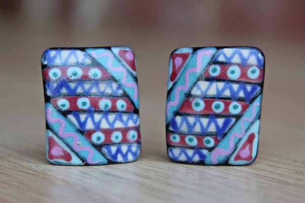1985 Handmade Ceramic Earrings Painted Like Quilts
