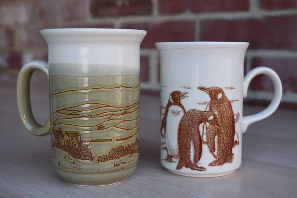 Churchill (England) Stoneware Mugs with Penguins and Farm Scene