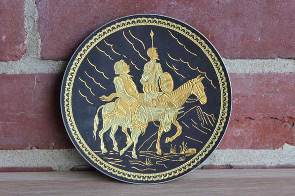 Etched Metal Footed Dish with Soliders on Horseback