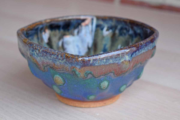 Handmade Bowl with Raised Bubble Pattern and Blue and Purple Glazes