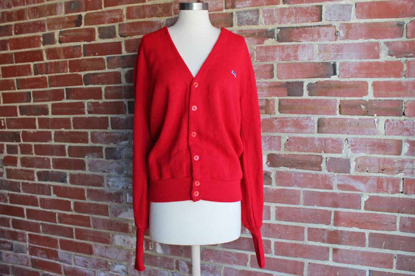 Le Tigre (USA) 6-Button Red Orlon Knit Cardigan, Size Large