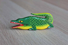 Colorful Hand Painted Wood Alligator Pin