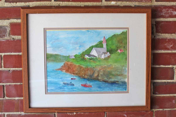 Original Framed Watercolor of a Church on a Sea Cliffside with Sailboats Below